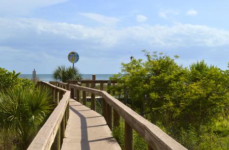 st  pete: Boardwalk entrance to St Pete Beach Florida Stock Photo