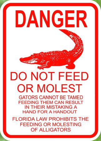 alligators: Danger do not feed the alligators sign Stock Photo