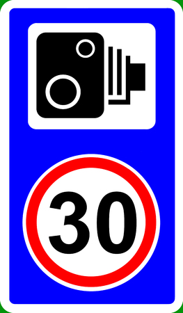 enforce: Speed camera enforcing 30mph speed limit traffic sign