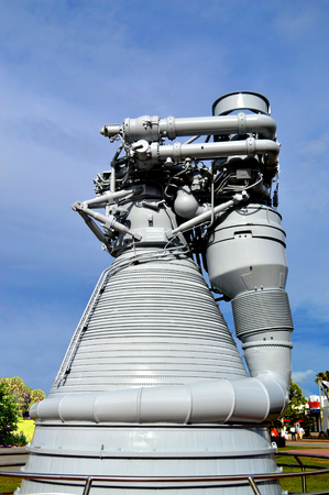 cape canaveral: Cape Canaveral, Florida, USA - May 6, 2015: Apollo F1 Engine on display at Kennedy Space Centre