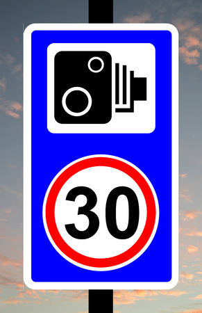 enforced: Speed camera enforcing 30mph speed limit traffic sign