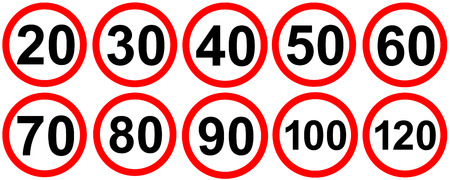 imposed: Speed limit road traffic signs Stock Photo