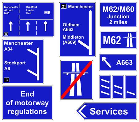 Motorway regulations signs collage Illustration