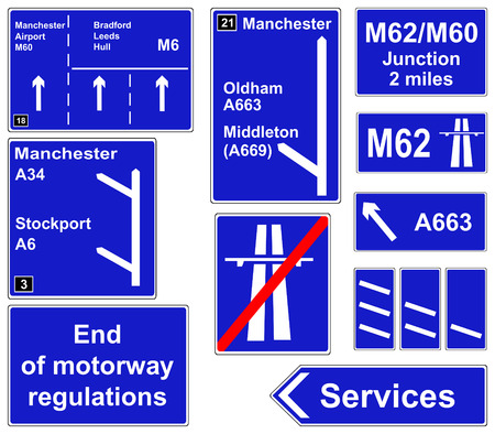 Motorway regulations signs collage Illustration