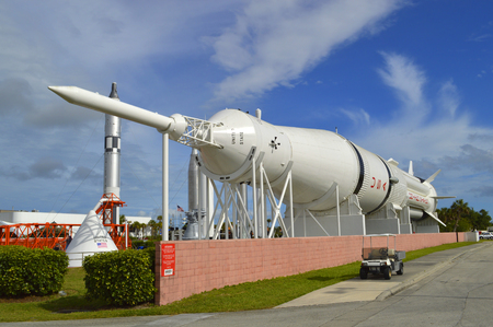 cape canaveral: Mercury-Redstone rocket on display at Kennedy Space Centre Florida