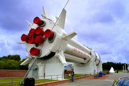 redstone: Cape Canaveral, Florida, USA - May 6, 2015: Mercury-Redstone rocket on display at Kennedy Space Centre