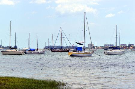 tampa bay: Sarasota Bay in Florida, USA - May 17, 2015:yachts in Sarasota Bay