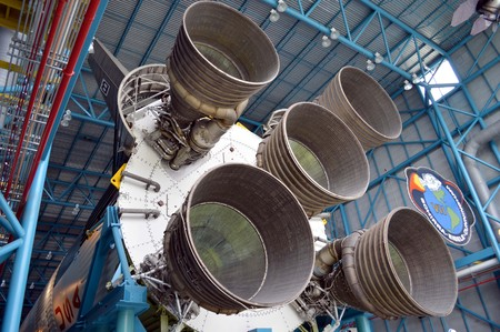 Kennedy: Cape Canaveral, Florida, USA - May 6, 2015: Apollo V11 rocket on display at Kennedy Space Centre Editorial