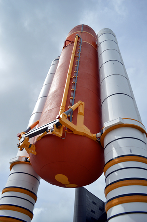 cape canaveral: Cape Canaveral, Florida, USA - May 6, 2015: Space Shuttle Solid Rocket Boosters and External Tank on display at Kennedy Space Center