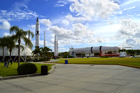 cape canaveral: Cape Canaveral, Florida, USA - May 6, 2015: Apollo rockets on displayin the rocket garden at Kennedy Space Center Editorial