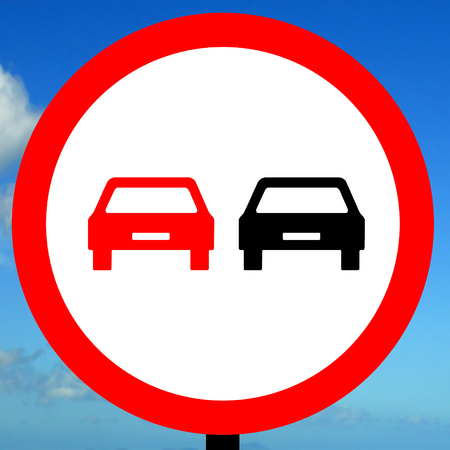 overtaking: No overtaking road traffic sign Stock Photo