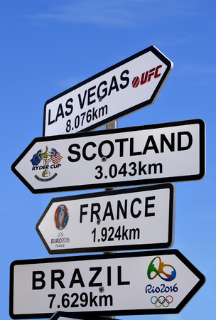 indication: Vilamoura, Algarve, Portugal - October 26, 2015: Direction, distance, position and indication sign