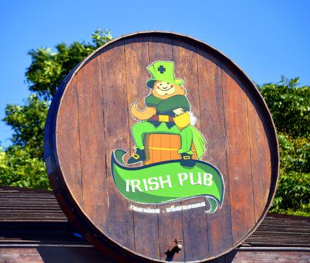 funny bearded man: Vilamoura, Algarve, Portugal - October 26, 2015: Irish pub sign Editorial