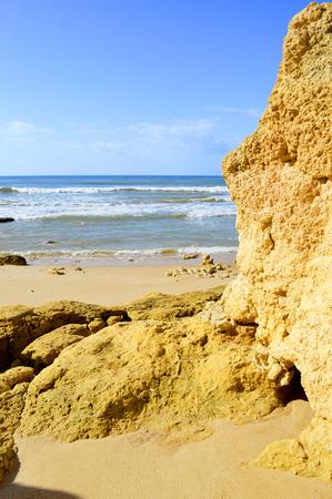 gale: Spectacular rock formations in Praia Da Gale on the Algarve coast