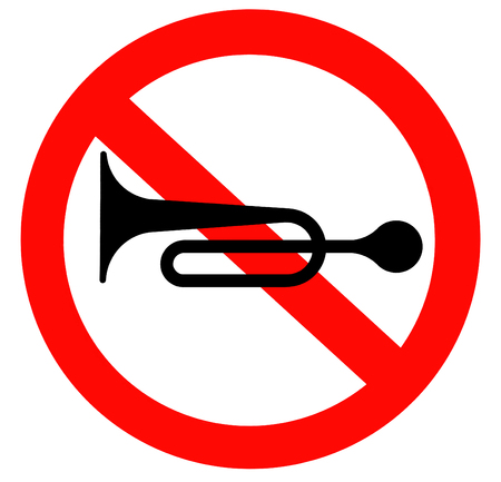 honking: No horns allowed traffic sign Stock Photo