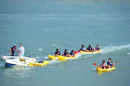 barlavento: Lagos, Algarve, Portugal - October 28, 2015: Kayak tours on the Bensafrim river in Lagos harbour