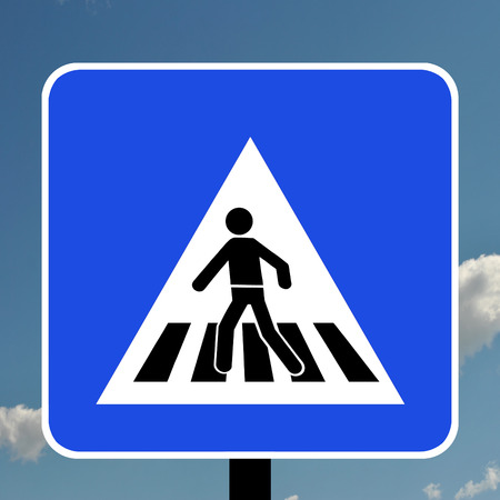 symbol vigilance: Warning triangle pedestrian crossing in Portugal Stock Photo