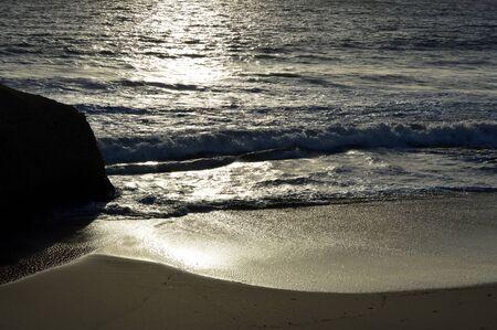 monochromatic: Monochromatic view of Sietskes Beach on the Algarve coast