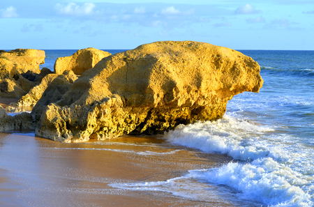 gale: Spectacular rock formations on Praia Da Gale Beach on the Algarve coast