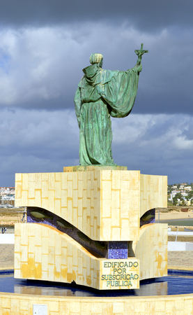 patron of europe: Statue of the Portuguese Patron Saint of fishermen in the Algarve S. Goncalo de Lagos Stock Photo