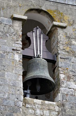 church bell: Loule historical Igreja Matriz de Loule ou Igreja de Sao Clemente church bell tower Stock Photo