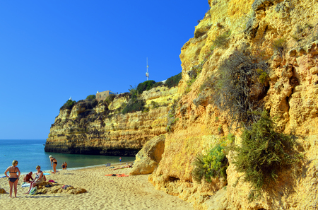 barlavento: Senhora da Rocha, Algarve, Portugal - September 29, 2014: Tourists enjoying the beach on a sunny day Editorial
