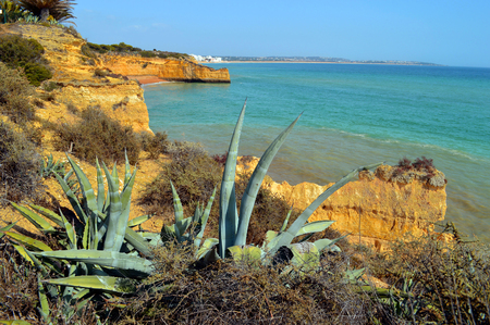 barlavento: Cova Redonda Beach on the Algarve coast in Portugal Stock Photo