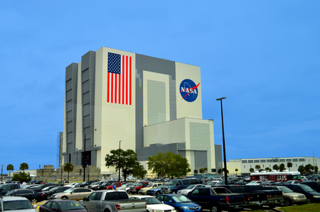 Kennedy: Cape Canaveral, Florida, USA - May 6, 2015: NASA Vehicle Assembly Building at Kennedy Space Center