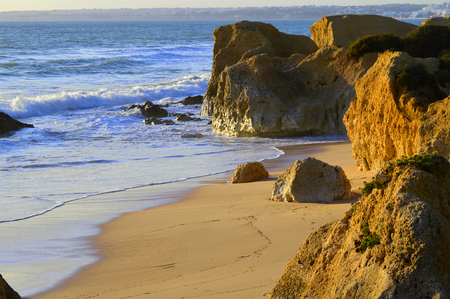 spectacular: Spectacular rock formations on Sietskes Beach on the Algarve coast