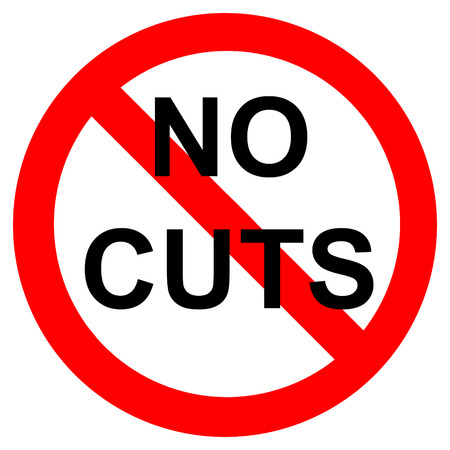 No cuts demonstration sign