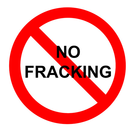 controversial: No fracking demonstration sign Stock Photo