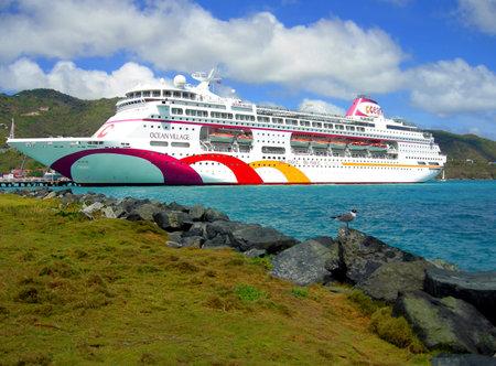 pleasure ship: Tortola harbor, British Virgin Islands - June 9, 2013 :Ocean Village cruise ship in Tortola harbor in the West Indies