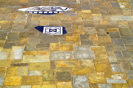 slabs: Chester City paving slabs in the Roman garden