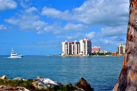 pinellas: Sand Key, Florida, USA - November 6, 2013 : A yacht sailing along Sand Key coast in Florida