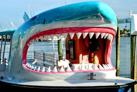 passtime: Clearwater Beach, Florida, USA - November 10, 2013 : Shark tourist cruise boat in Clearwater Beach Florida