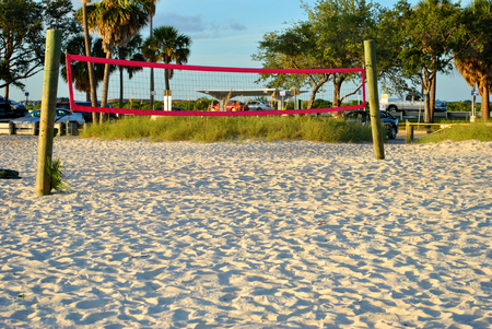 rocky point: Beach Vollyball net on Ben T Davis Beach in Florida Stock Photo