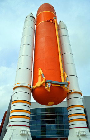 Kennedy: Cape Canaveral, Florida, USA - May 6, 2015: Space Shuttle Solid Rocket Boosters and External Tank on display at Kennedy Space Center