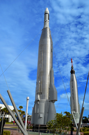 cape canaveral: Cape Canaveral, Florida, USA - May 6, 2015: Apollo rockets on display in the rocket garden at Kennedy Space Center Editorial