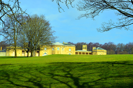 colonnaded: Prestwich, Manchester, England, UK - March 13, 2016 : The grade 1 listed building Heaton Hall in Manchester