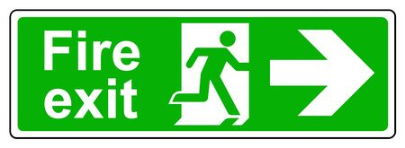 Fire exit right sign Stock Photo