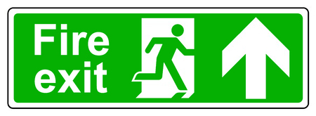 fire exit: Fire exit up sign Stock Photo