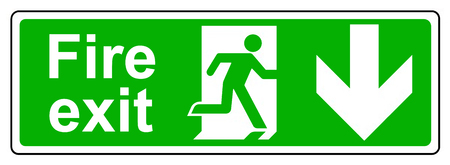 fire exit: Fire exit down sign