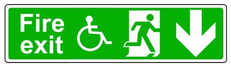 wheelchair access: Fire exit Wheelchair access down sign Stock Photo