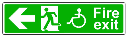 wheelchair access: Fire exit Wheelchair access left sign