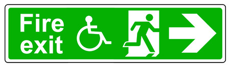 wheelchair access: Fire exit Wheelchair access right sign