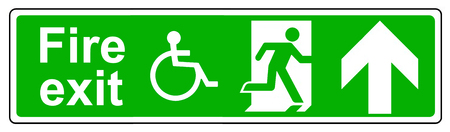 wheelchair access: Fire exit Wheelchair access up sign