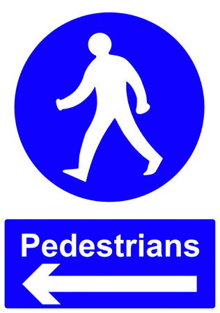 documented: Pedestrians stay to the left sign Stock Photo