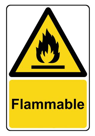Flammable substances yellow warning sign
