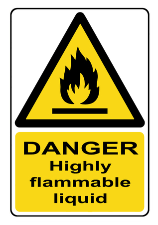 flammable: Danger highly flammable liquid yellow warning sign