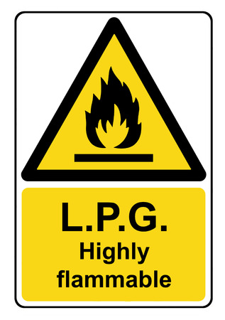 flammable: L.P.G. highly flammable yellow warning sign